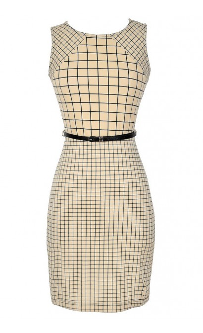 Gridlock Belted Sheath Dress