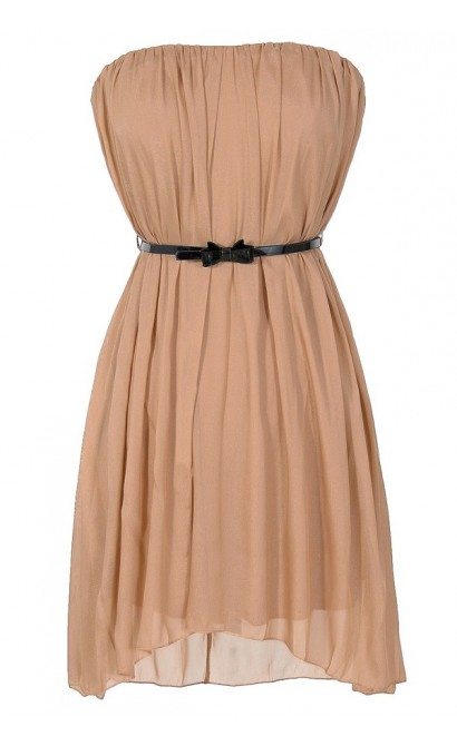 Tara Bow Belted Strapless Chiffon Dress in Taupe
