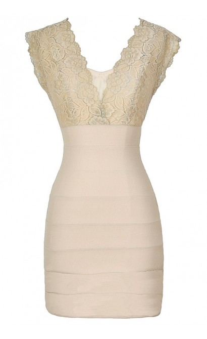Wrapped In Lace Bodycon Dress in Beige