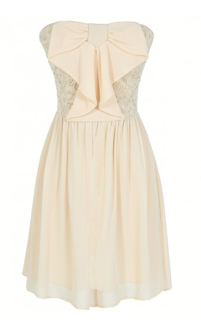 Waterfall Bow Front Chiffon and Lace Dress in Cream