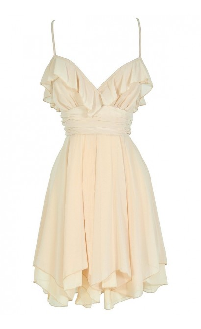Flowers In The Water Tiered Ruffle Designer Dress in Beige