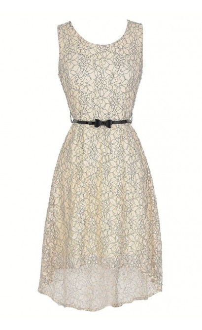 Drawing Outlines Belted Floral Lace High Low Dress in Ivory