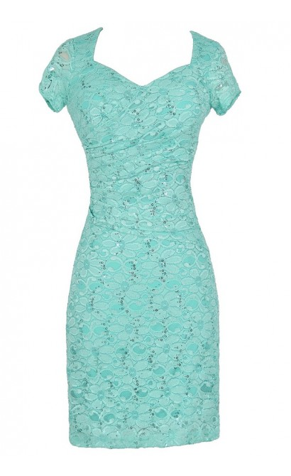 Gathered Sequin and Lace Capsleeve Pencil Dress in Aqua