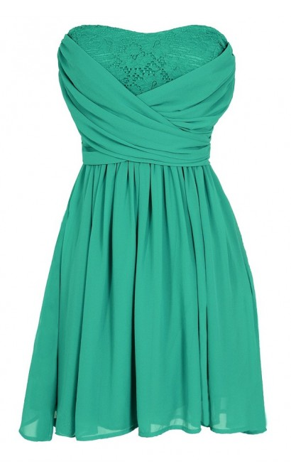 Peekaboo Lace Strapless Chiffon Dress in Jade