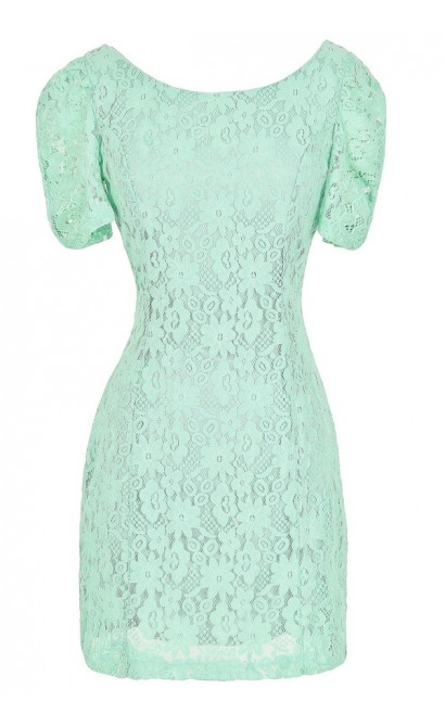 Skyler Fitted Lace Sheath Dress in Mint