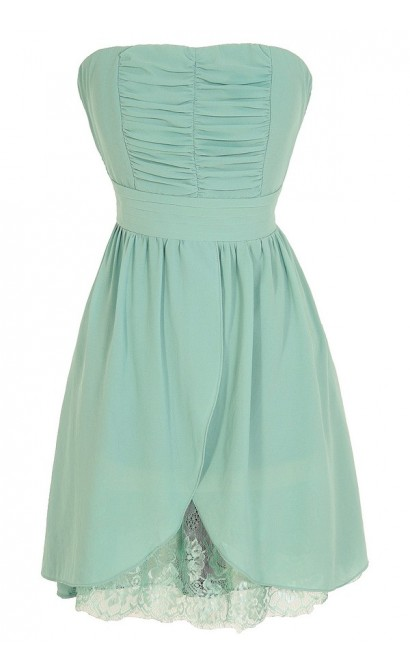 Lined In Lace Strapless Chiffon Dress in Sage