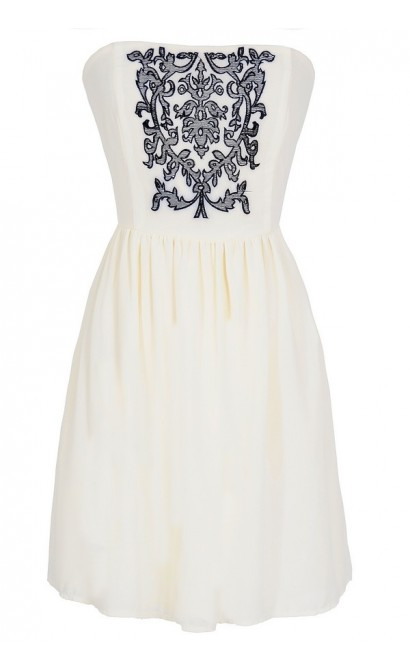Filigree Embroidered Strapless Dress in Ivory