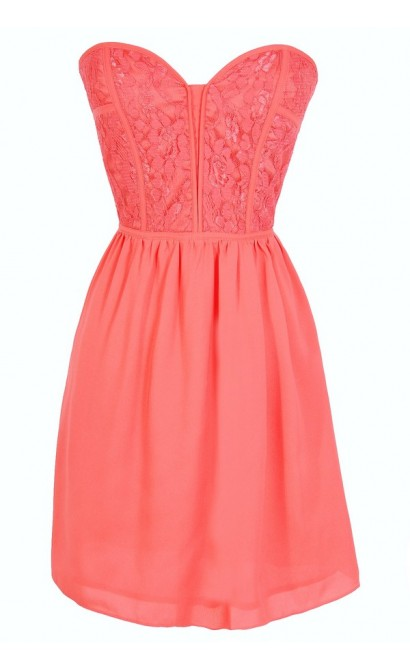 Sweetheart Strapless Dress in Coral