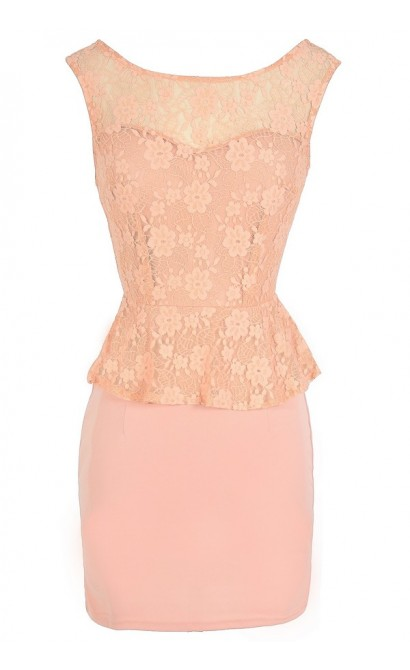 Ladies Who Lunch Peplum Lace Dress in Orange Peach