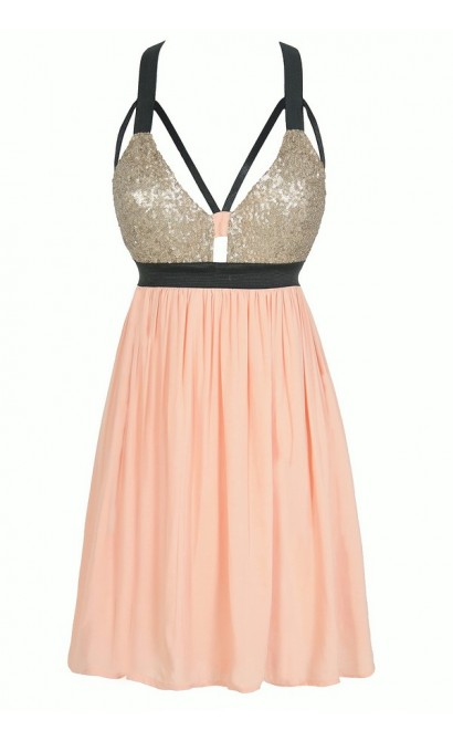 Shining Armor Sequin Designer Cutout Party Dress in Pink/Gold