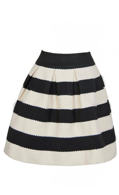 Bold Black and Ivory Textured Stripe Skirt