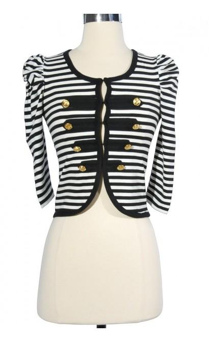 Going Sailing Nautical Stripe Jacket in Black/White