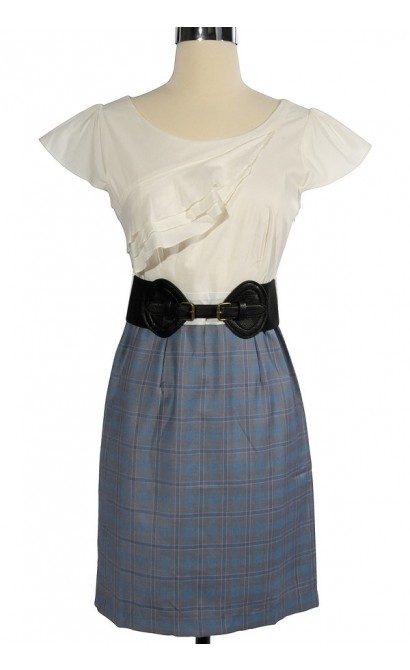 Head of the Class Belted Plaid Dress