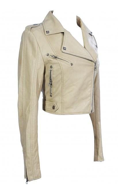 Bridget Vegan Leather Moto Jacket in Beige