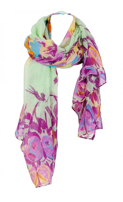 Butterfly Garden Scarf in Mint/Purple