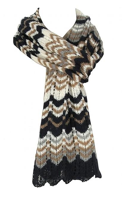 Missoni Pattern Open Knit Scarf