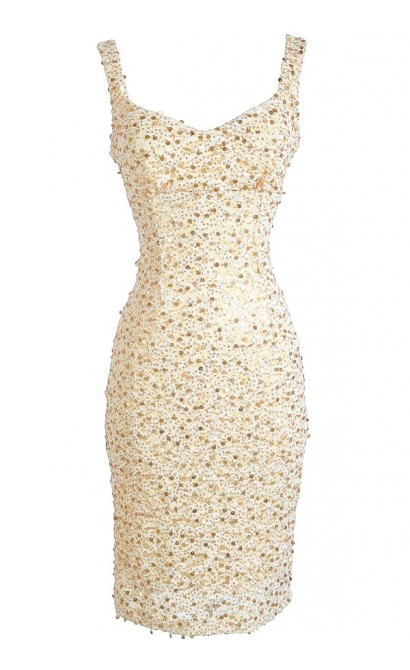 All That Shimmers Cream and Gold Paillette Dress_54