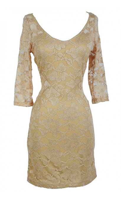 Gold Shimmer Lace Overlay Fitted Bodycon Dress