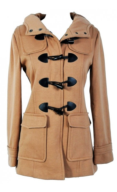 Hooded Toggle Coat in Tan