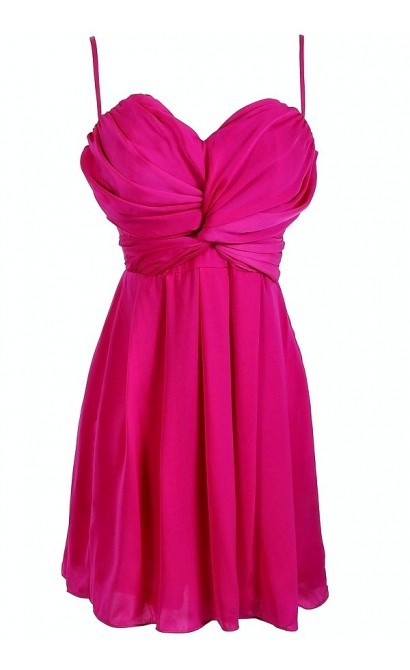 Magenta Twist Chiffon Designer Dress by Ark n Co