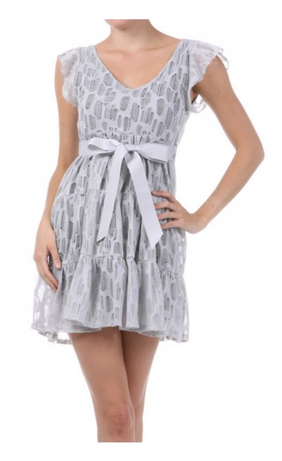 Graceful Lace Ribbon Belted Dress
