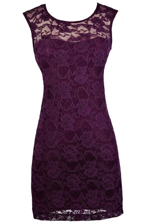 Lily Boutique Dark Purple Lace Dress Purple Lace Pencil