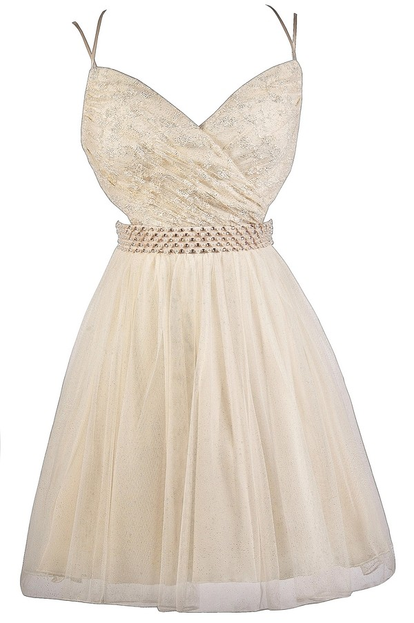 lily boutique cream and gold lace party dress cute prom