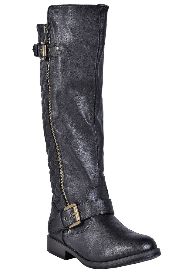 Quilted Black Riding Boots