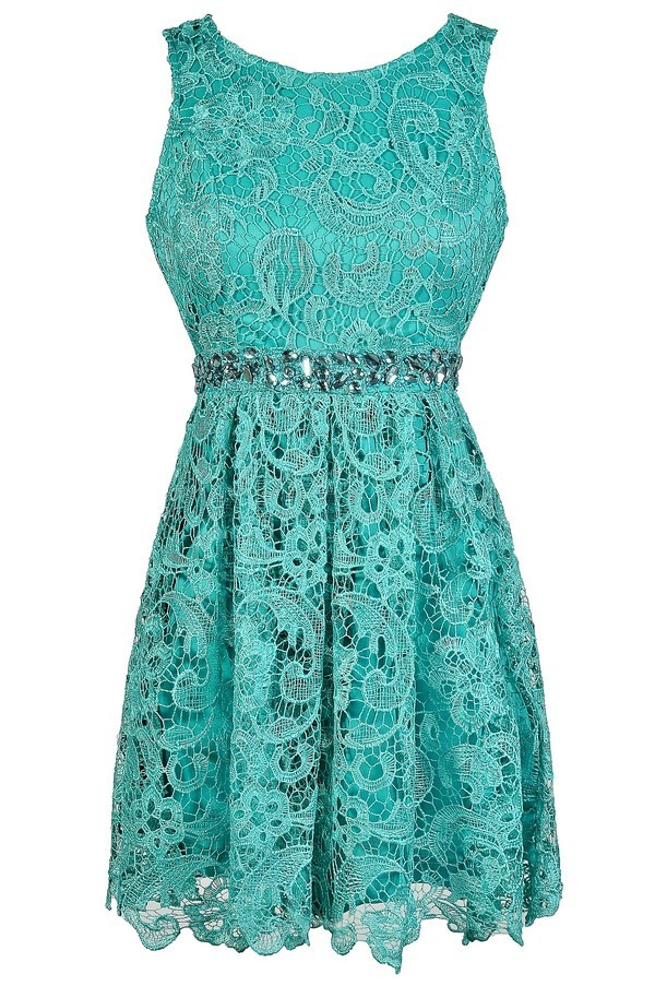 lily boutique teal lace rhinestone dress teal lace aline