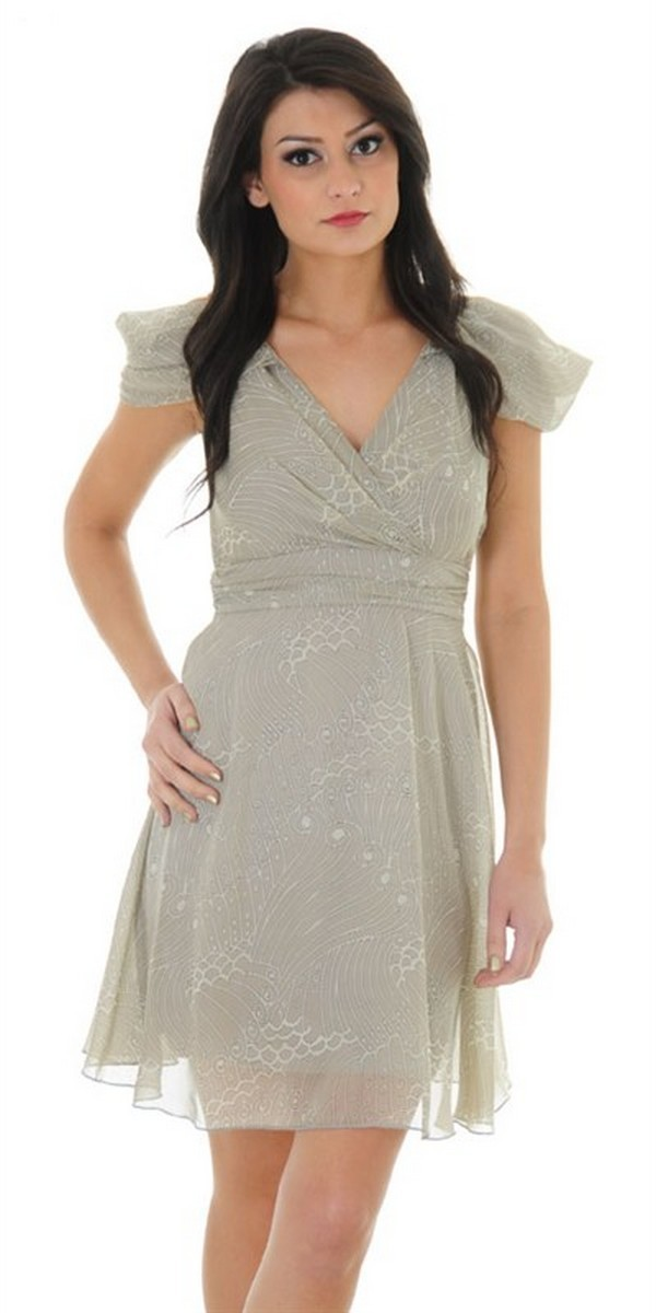 Pretty In Paisley Draped Shoulder Dress In Beige