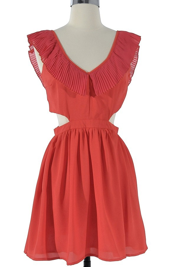 Layla Cutout Ruffle Dress in Red
