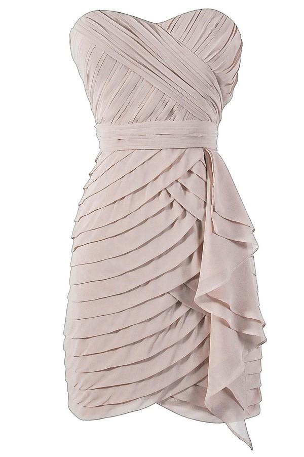 Tiered Strapless Chiffon Designer Dress by Minuet in Champagne