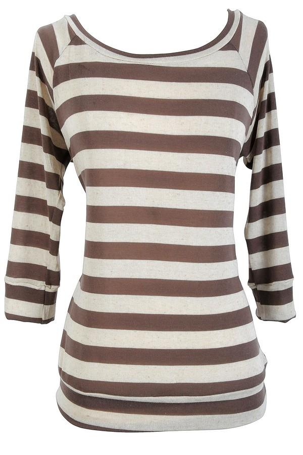 Striped Round Neck Sweater in Mocha