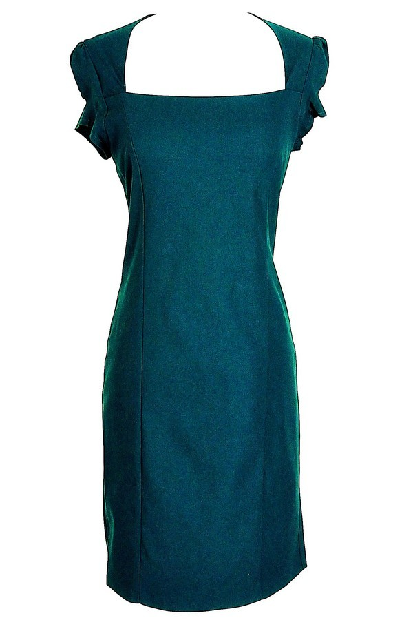 Square Neck Modest Pencil Dress in Teal