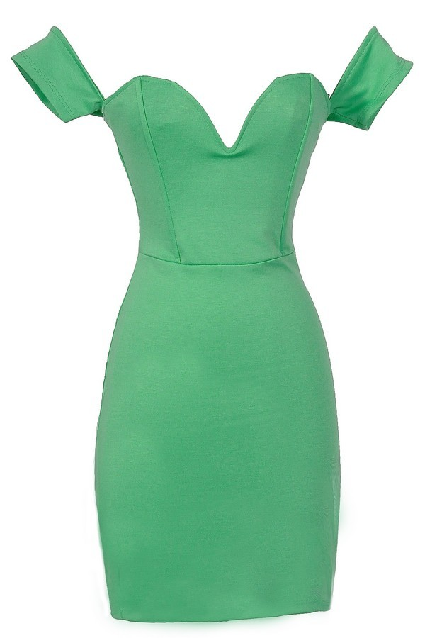 Sweetheart Off Shoulder Bodycon Dress in Jade