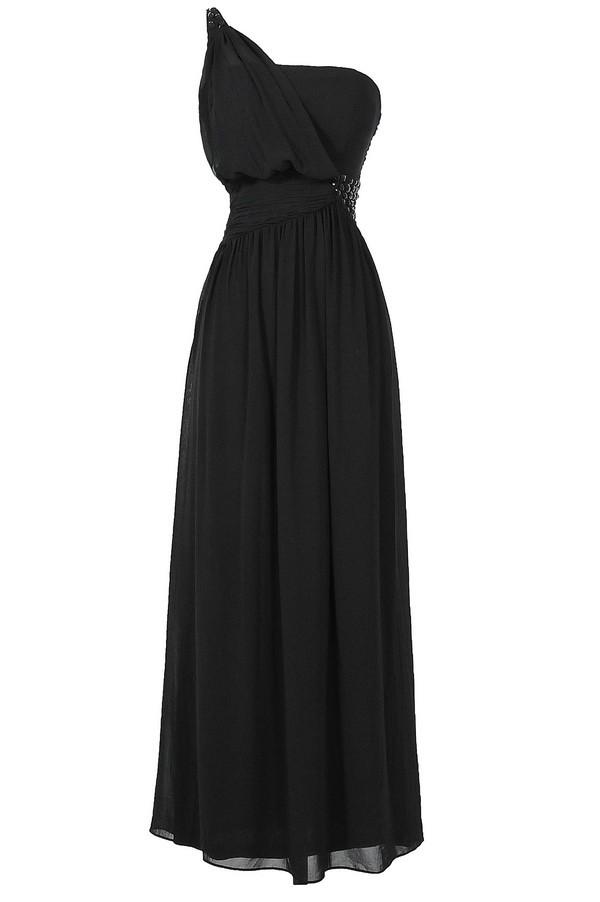 One Shoulder Embellished Maxi Dress in Black