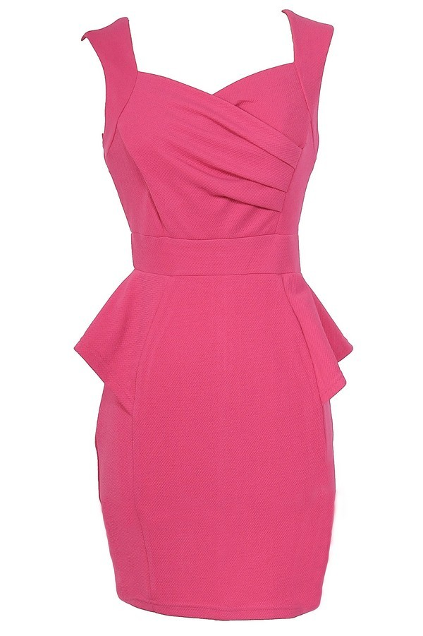 Network The Room Matelasse Peplum Dress in Hot Pink