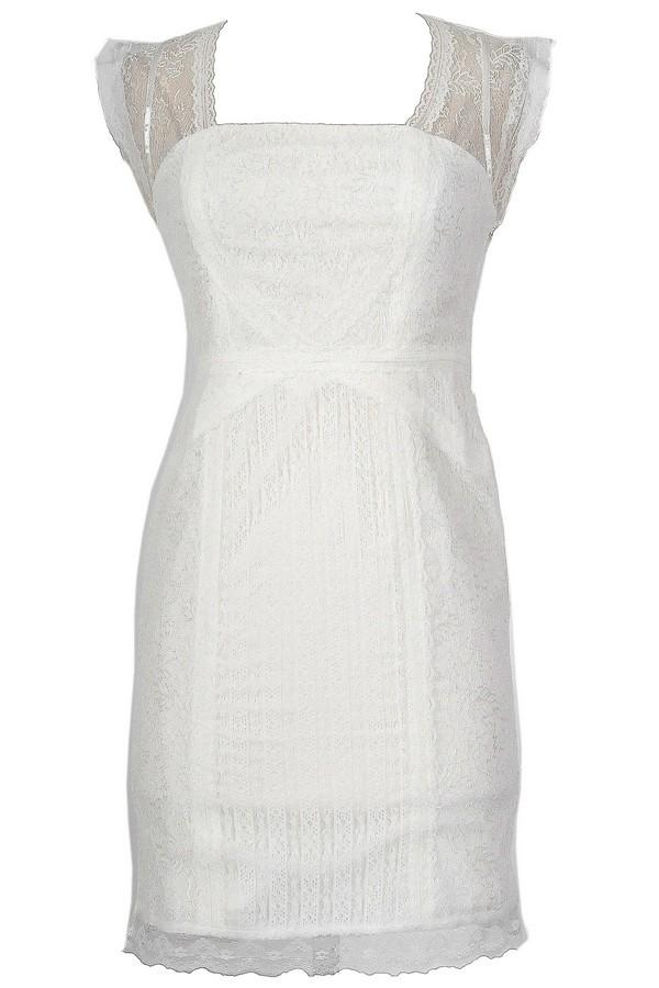 White Lace Designer Sheath Dress