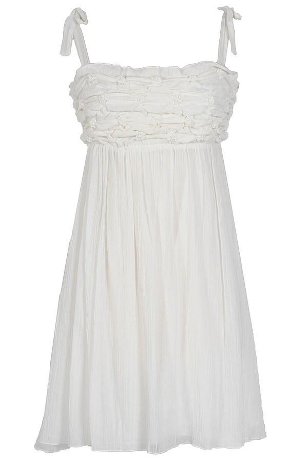 Not Tied Down Ivory Scrunch Dress