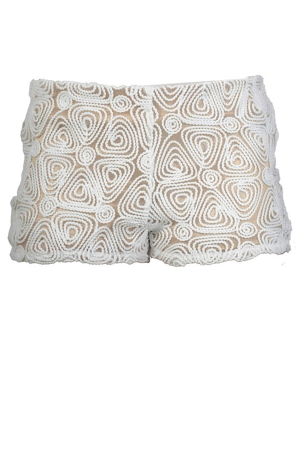 Textured Swirls Beige and Ivory Shorts