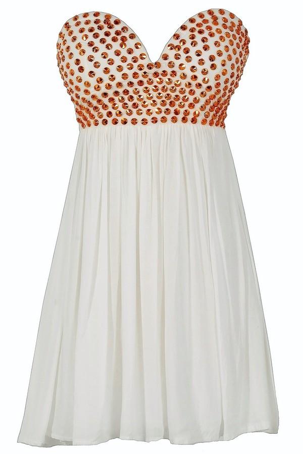 Bronze Age Studded White Chiffon Dress