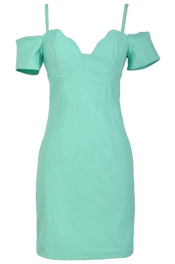 Cold Shoulder Bodycon Bustier Dress in Sea Green