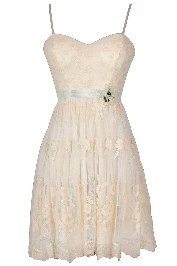 Naturally Pretty Embroidered Cream Lace Dress