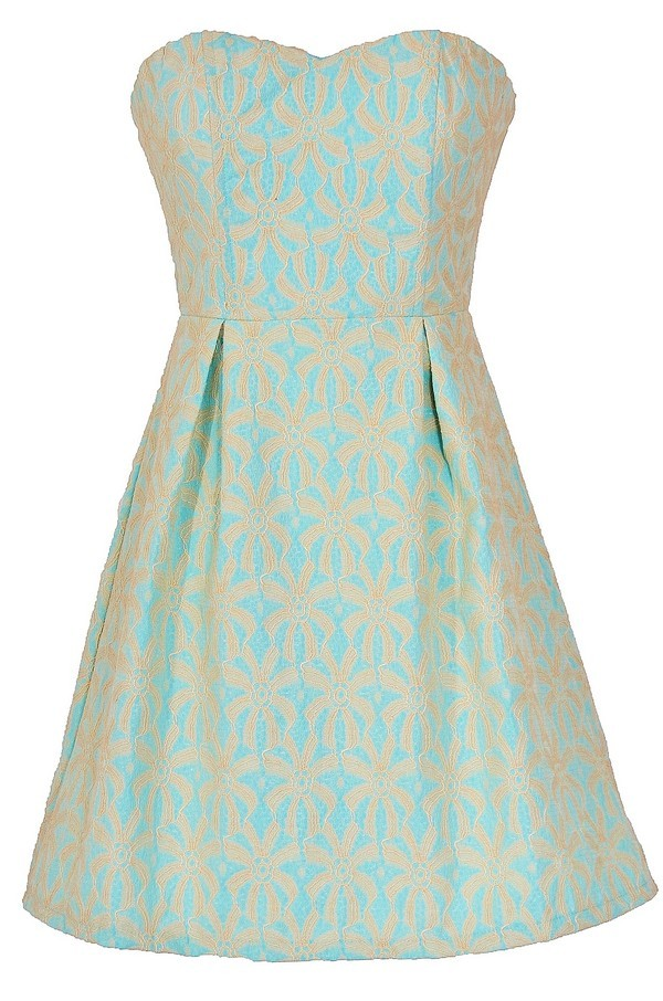 Sand Dollar Summer Dress in Sky Blue/Beige