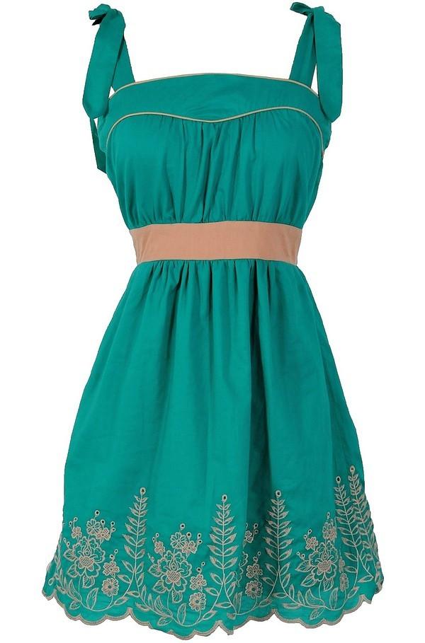 Shoulder Tie Embroidered Designer Dress in Jade