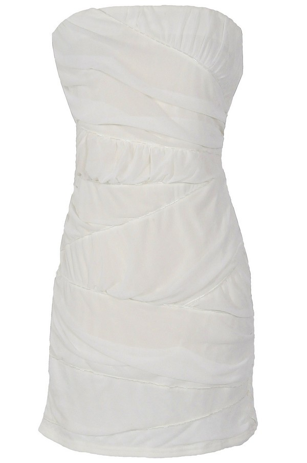 Beaded and Ruched Crisscross Bodycon Dress in Ivory