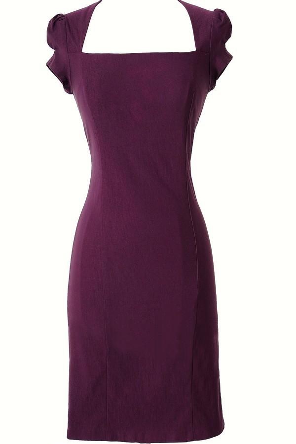 Square Neck Modest Pencil Dress in Purple