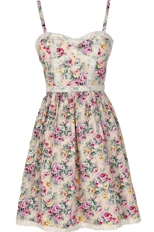 Cottage Rose Lace Trim Floral Designer Dress