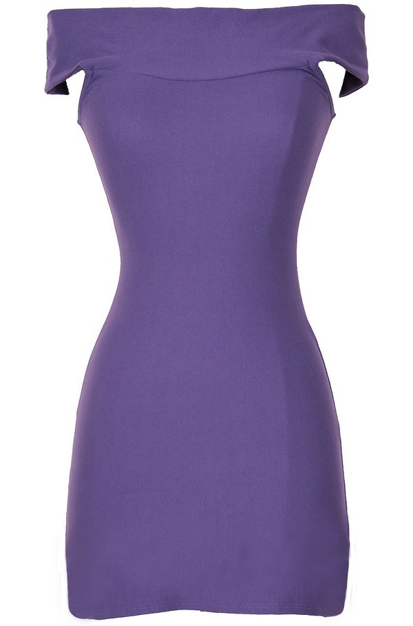 Flirty Off Shoulder Bodycon Dress in Purple