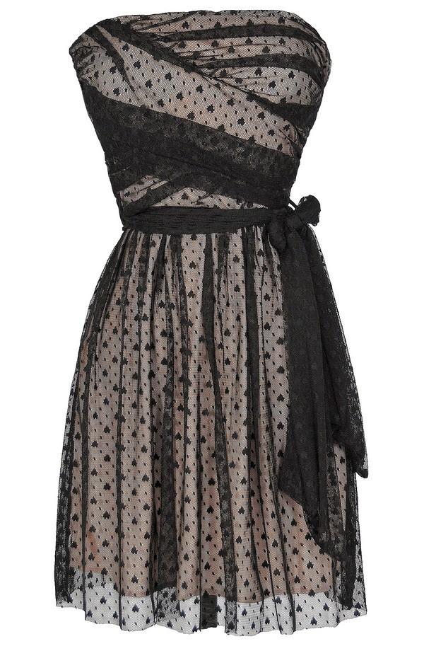 Ink Blot Black and Beige Mesh Lace Dress